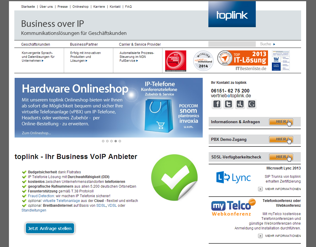 Details : Voice over IP Anbieter