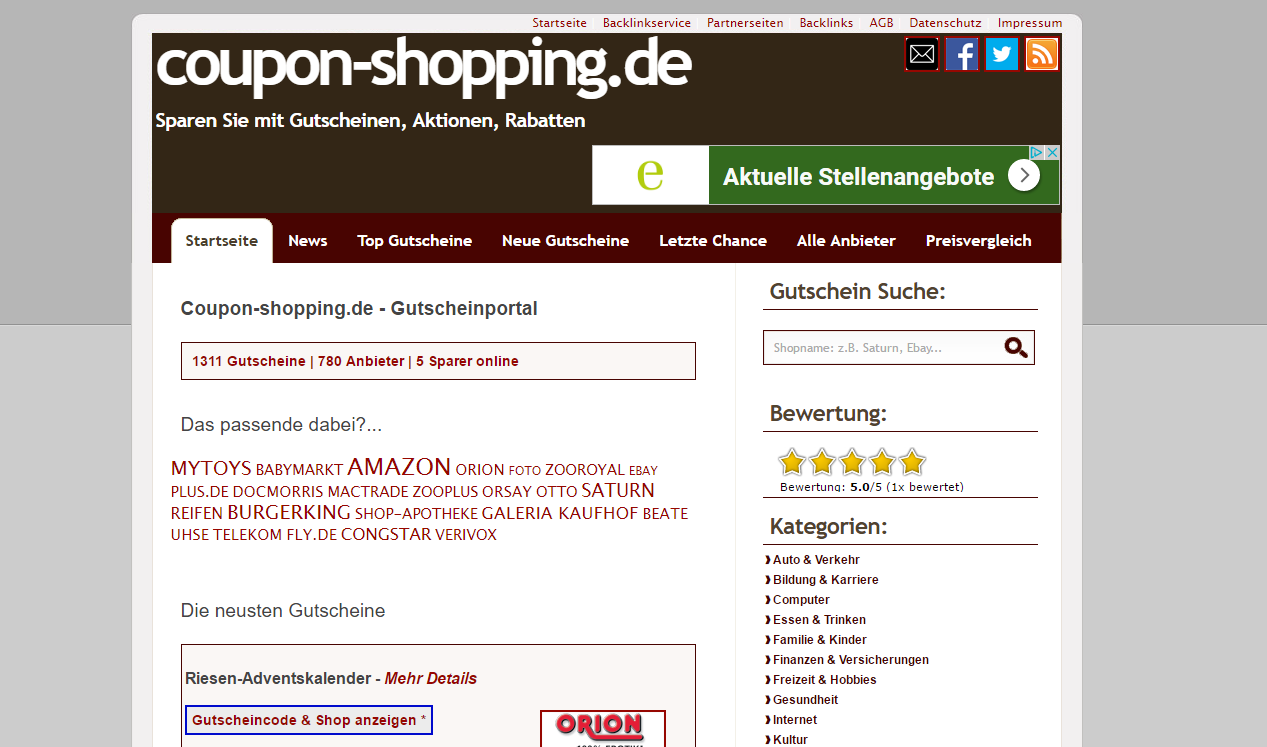 Details : Coupon-shopping.de - Gutscheinportal